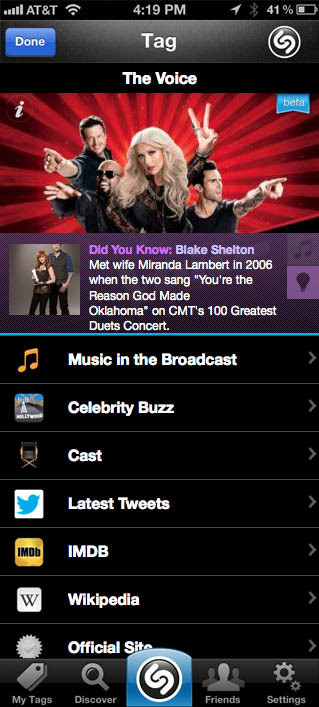 Photo Shazam For Tv The Voice