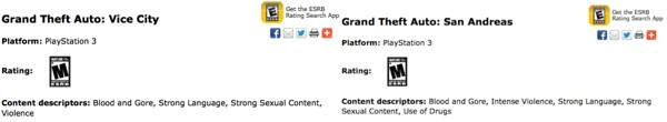 GTA Vice City San Andreas PS3 Classification