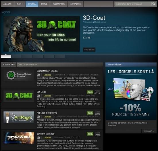 Accueil Steam logiciel