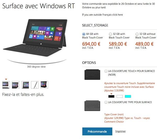 Prix Surface Microsoft Store