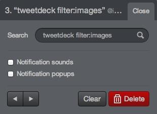 Filtre Search Tweetdeck