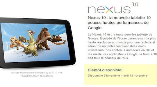 nexus 10 commande