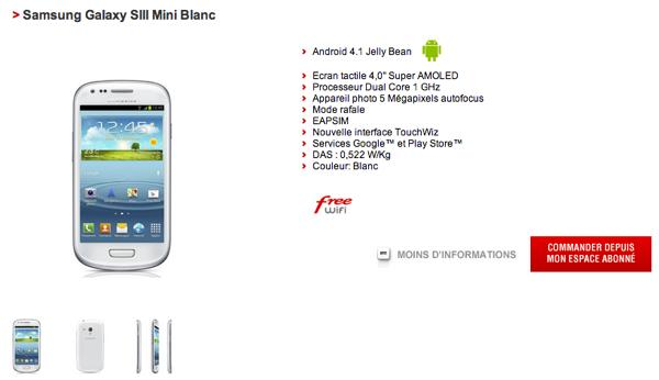 Free mobile Samsung Galaxy S3 Mini