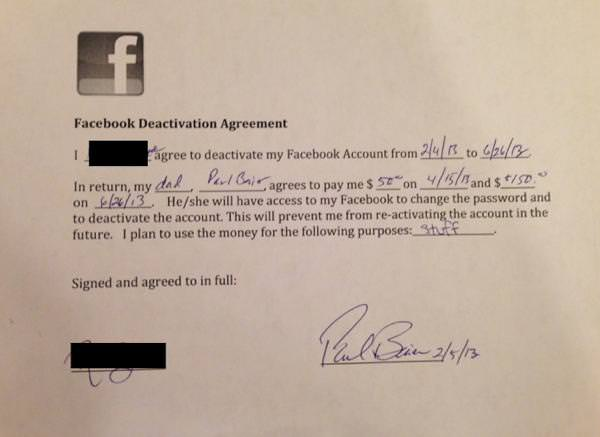 Contrat Facebook 200 dollars