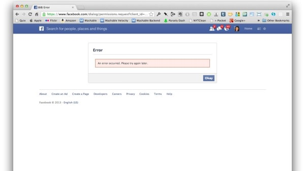 facebook connect erreur