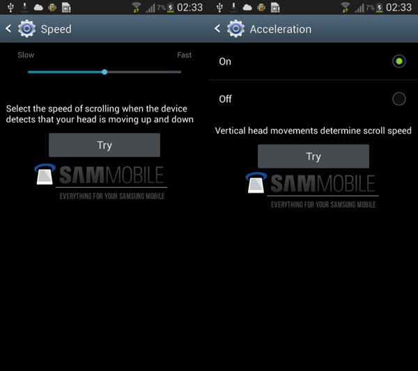 Galaxy S4 Smart scroll