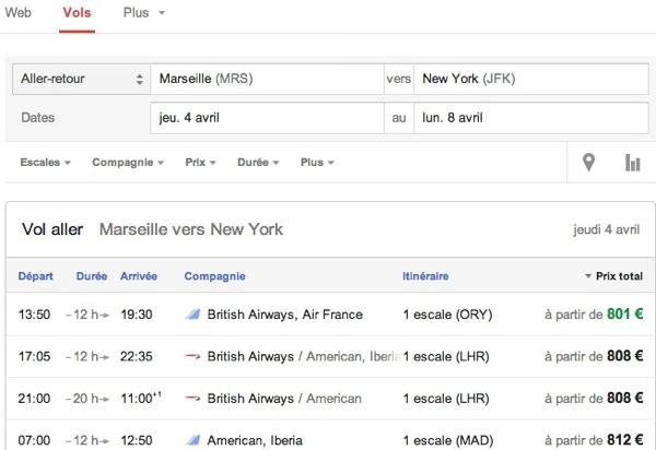 Google Recherche Vols