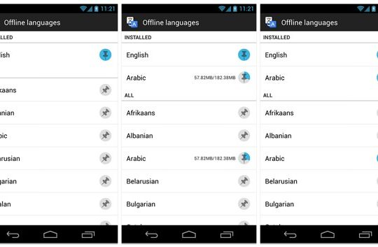 Google Traduction Android hors ligne