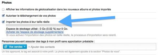 Google Plus import photo taille reelle