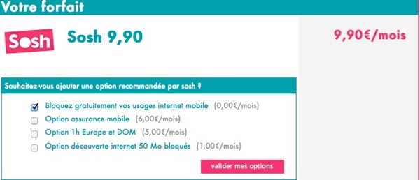 Sosh 9,90 euros data option