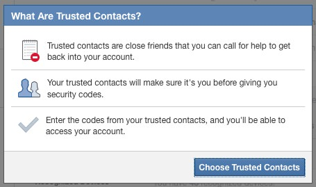 Facebook Contacts de confiance