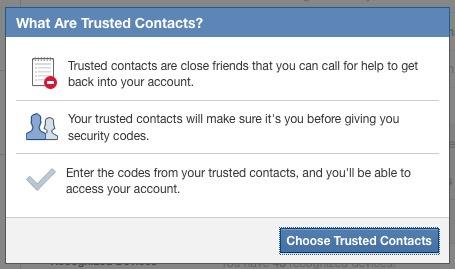 Facebook Contacts de confiance
