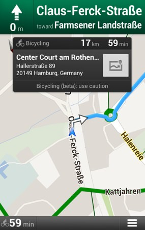 Google Maps Android A Velo