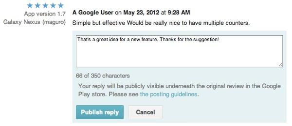 Google Play Reponse developpeurs avis utilisateurs