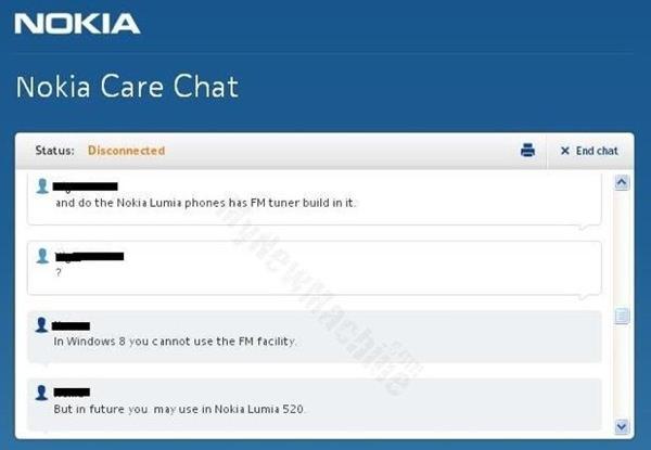 Nokia confirme Tuner FM Lumia 520