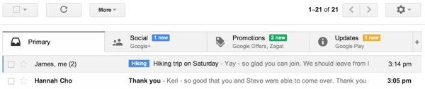 Nouveau Gmail Onglets