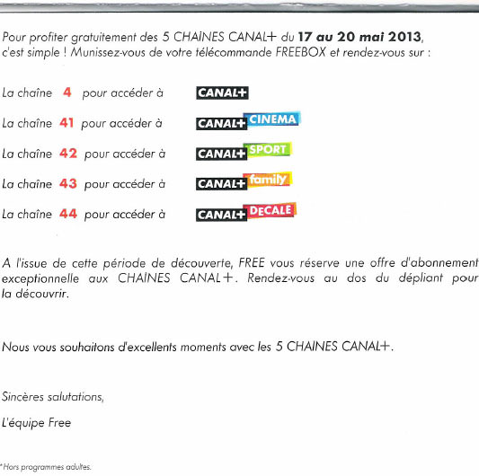 canal offre free