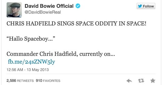 tweet david bowie space oddity