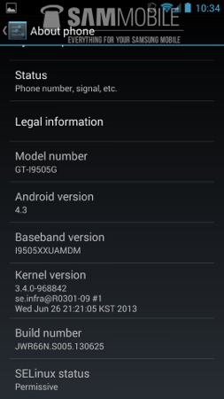 Android 4.3 Fuite Galaxy S4 Google Edition