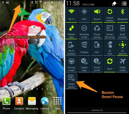 Galaxy S4 Barre semi-transparente toggle Smart Pause