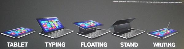 Samsung ATIV Q Differentes Positions