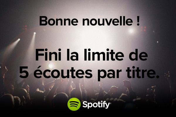 Spotify retire limite 5 ecoutes France