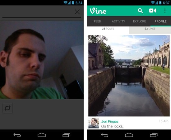 Vine Android Camera Frontale