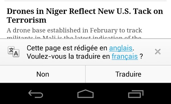 Chrome 28 Android Traduction Auto