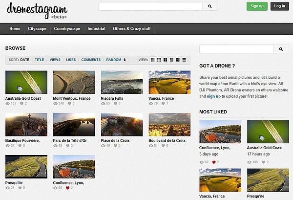 Dronestagram page accueil