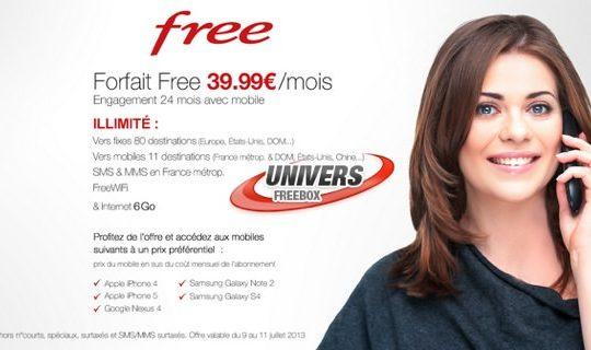 Free Mobile Forfait 39.99 euros vente privee