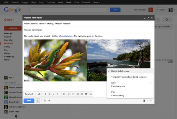 Gmail nouveau composeur email plein ecran