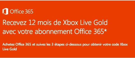 Office 365 Offre 1 an Xbox Live