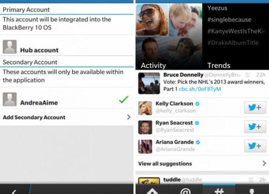 Twitter Mise a jour application BlackBerry 10