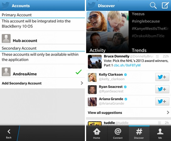 Twitter Mise a jour application BlackBerry 10