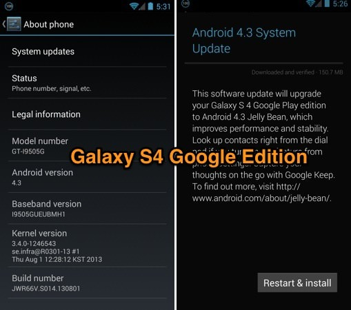 Android 4.3 Galaxy S4 Google Edition