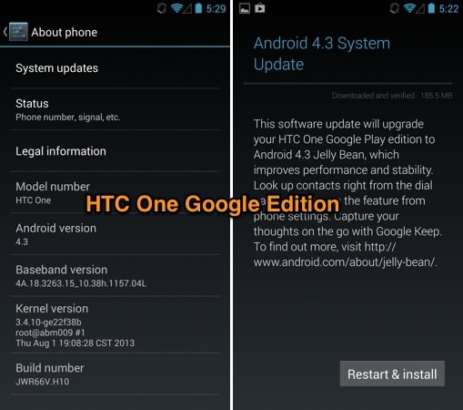 Android 4.3 HTC One Google Edition