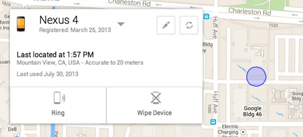 Android Device Manager Appareil perdu vole