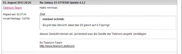 Deutsche Telekom Galaxy S3 Android 4.3