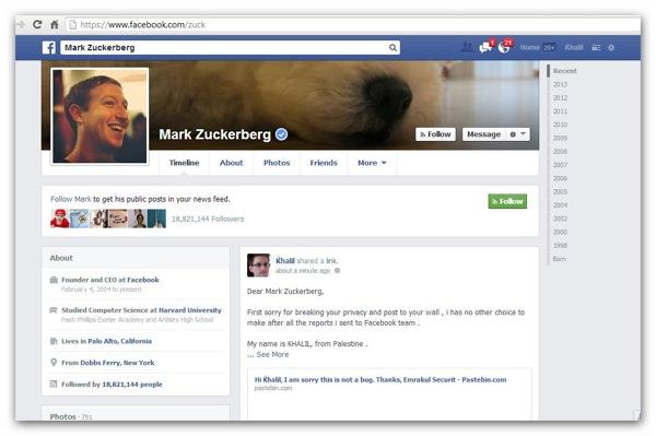Facebook Faille Zuckerberg