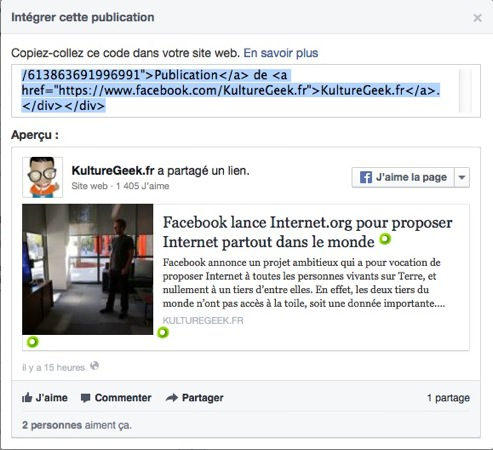 Integration Statut Facebook