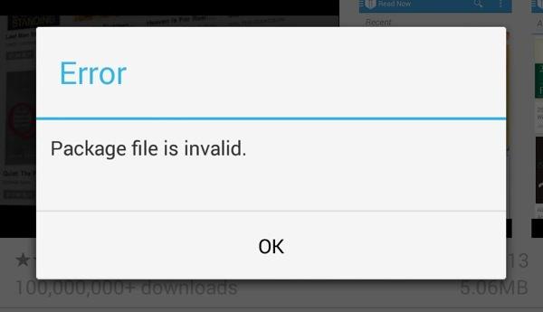 Paquet Non Valide Google Play