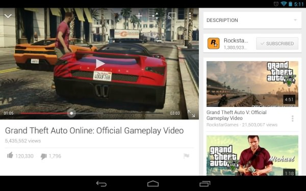YouTube 5.0 Android Tablette