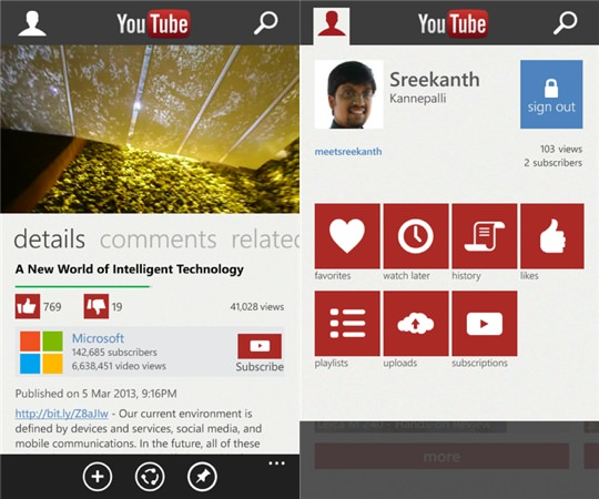 YouTube Windows Phone Nouvelle Version