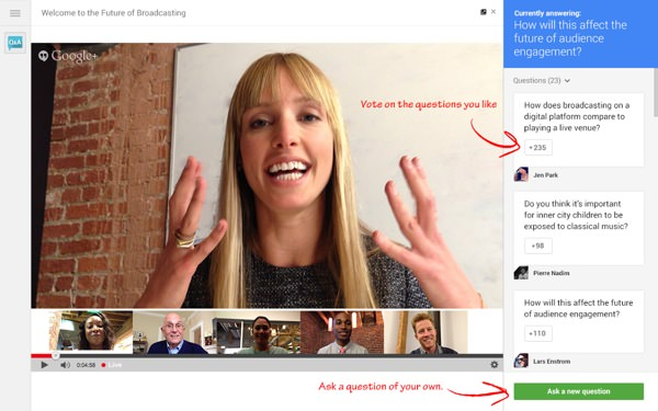 Google Hangouts Questions Reponse en direct