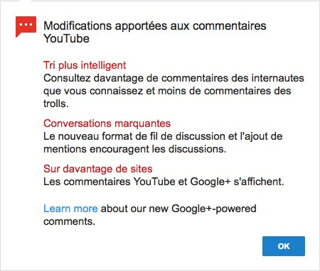 YouTube Arrivee Commentaires Google+