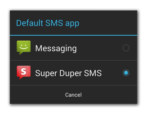 Android 4.4 Application SMS Par Defaut