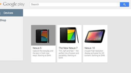 Nexus 5 Apparait Google Play