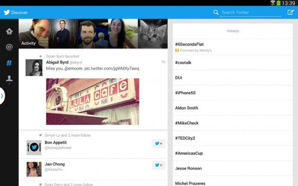 Twitter Tablette Android