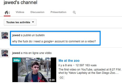 Jawed Karim YouTube Commentaire Google Plus