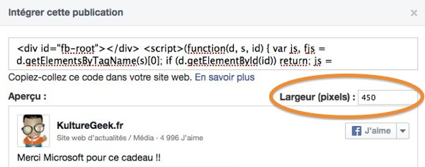 Facebook Integration Statut Largeur
